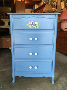Solid Wood Blue Tall Boy Dresser