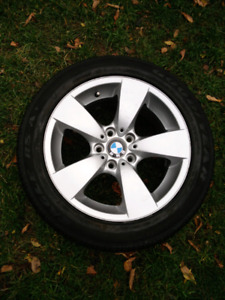 """Single BMW 5 series 17"""" alloy rim and tire"""