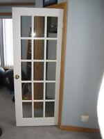 15 pane solid wooden interior door