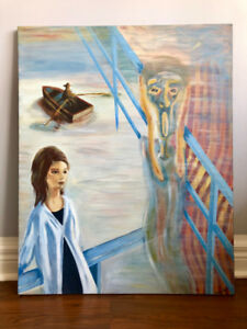 PAINTING Homage to The Scream by Edvard Munch Acrylic 24 x 30 In