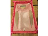 Lovely girls pink baby doll cot bed - excellent condition