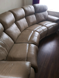 Curved electric recliner leather sofa