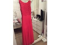 A coral/pink evening dress! Suitable for prom/evening/formal gown type setting