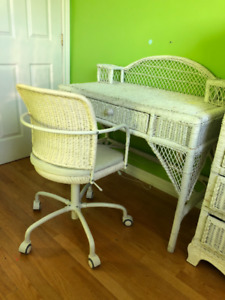 wicker desk with chair