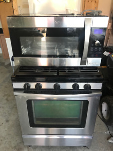 Over-the-Range Microwave Oven and Freestanding Gas Range