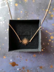 Mystic Celestial Dainty Star Burst Sun Gold Charm Necklace