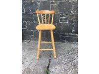 Tall pine kitchen chair stool. For painting or upcycle