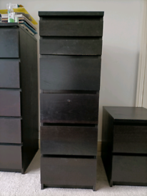 IKEA Malm 6 drawer, 40 cm wide, chest of drawers with mirror. Black Ash