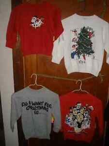 Four Retro Humurous Xmas Sweatshirts, Youth Size 4 - 6