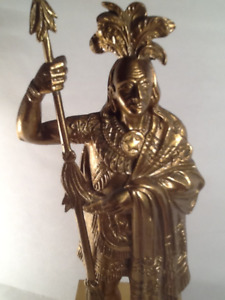 Indian Chief Brass Statue on Wooden Base