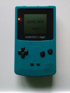 GameBoy Color Teal / Turquoise with/avec Pokémon Red and Yellow