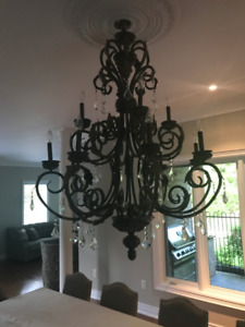 CAST IRON LARGE CHANDELIER WITH BULBS