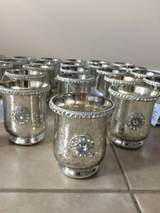 Brand New 25 Pieces Silver Mercury Glass Votive Candle Holder