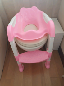 Kids toilet trainer seat with step