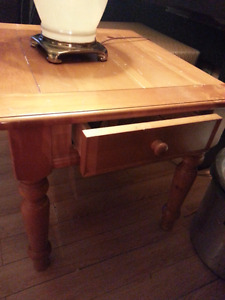 Hardwood End Table with drawer