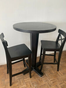 IKEA bar dining table and 2 bar chairs