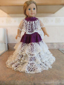 RUFFLED EVENING GOWN FOR AMERICAN GIRL DOLL HAND KNIT