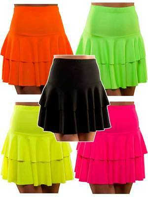 80s Retro Neon Ra Ra Skirt Fancy Dress Hen Party Punk Mod Rock Rocker Rave