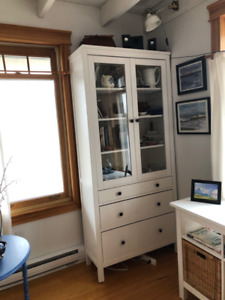 Ikea Hemnes solid wood glass cabinet and console