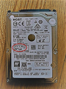"""1TB HGST 7200rpm 2.5"""" HDD SATA 6Gbps (enclosure sell separately)"""