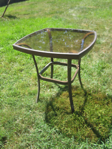 Glass Top Patio End Table