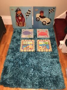 Selling pictures and blue rug