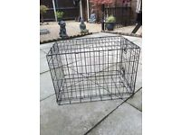 Dog or puppy black metal cage. Folds flat.