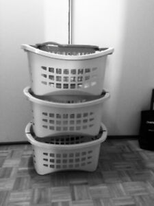 White stackable 3 laundry hampers made specifically to stack