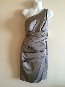 Size 2 Silver One Shoulder Bridesmaid Dress