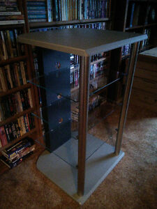 Grey with glass stereo stand