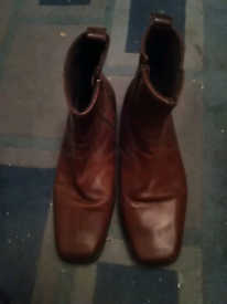 Mens Square Toe Brown Leather Ankle Boots Size 12 EU 46