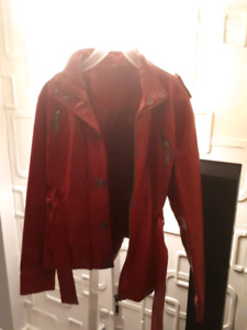 CUTE RED LEATHER-LIKE CHILDRENS COAT SIZE M