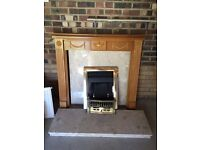 Gas Fire Place with marble and wood surround