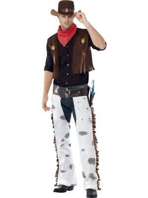 Cowboy Costume Mens Rodeo Adult Western Wild West Halloween Fancy Dress - Mens Halloween Fancy Dress