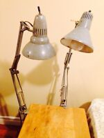 Large Antique Industrial Age Task Lamps