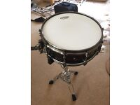 """Black Panther Black Widow 14"""" Snare Drum Mapex With Pearl Stand"""