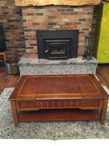 Solid wood, lift top coffee table, and matching side table