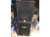 Peavey PA system speakers & 1000w amp & stands