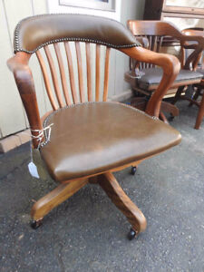 antique vintage Krug  office chair, new leather seat and back