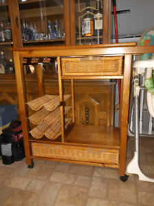 Rolling wickered kitchen cart