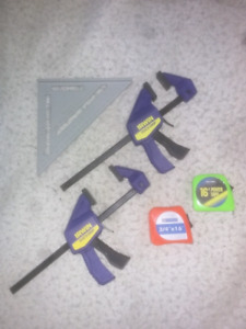 Speed square two tape measures two irwin clamps