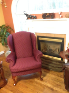 Two -  High Backed Living Room Chairs,   Colour - Burgandy