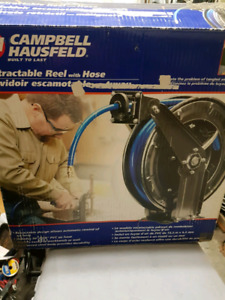 Retractable reel with hose.