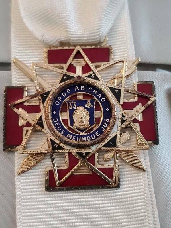Vintage Masonic 33 Degree Sterling Gold Wash Enamel Medal
