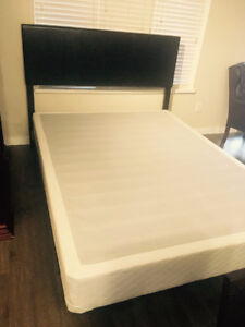 Queen size Leather Bed and Box Spring and mattress