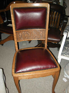 antique oak side chair, carved, new burgundy leather
