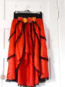 Spanish/ day of the dead high low skirt