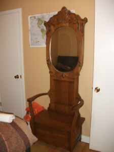 Antique Solid Oak hall bench with coat rack and mirror $400 OBO