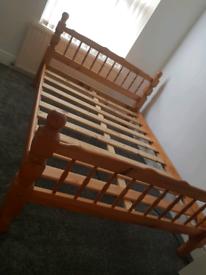Double Pine Bed frame bedside table rug