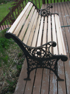 Rustic Outdoor Oak Wood Bench with Antique Cast Iron Sides